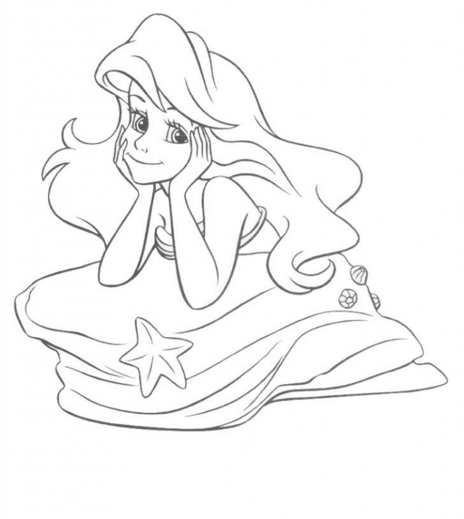 Ariel Coloring Pages Face