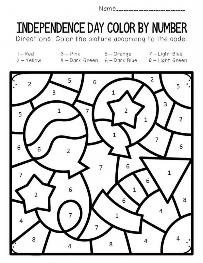 4th Of July Color By Number Worksheets