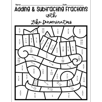 Adding And Subtracting Fractions Color By Number Denominators