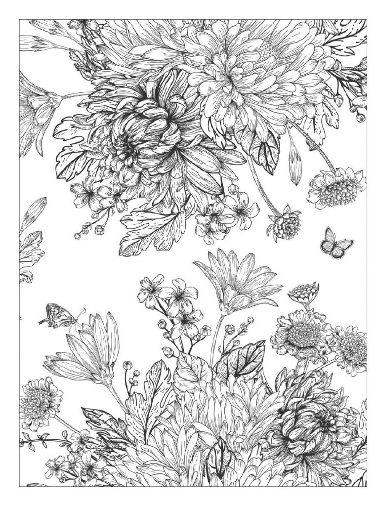 Adult Coloring Books Flowers