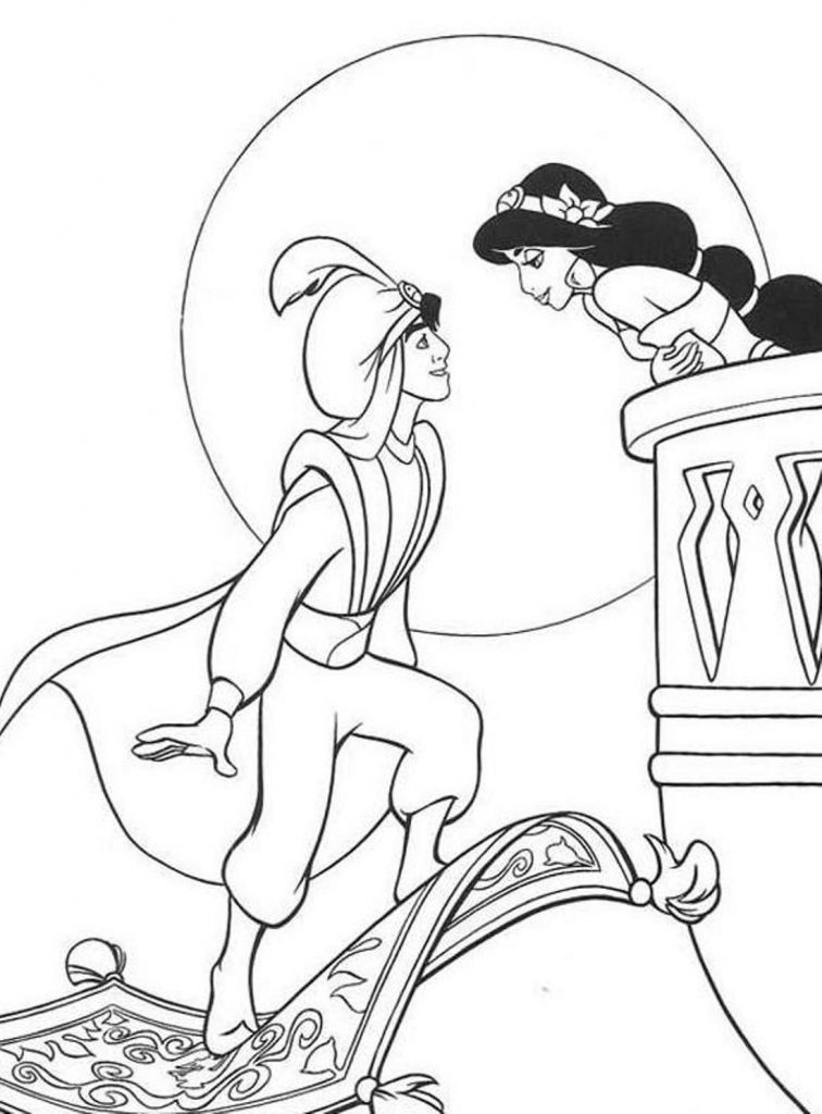 Aladdin Coloring Pages And Princess Jasmine 101 Coloring