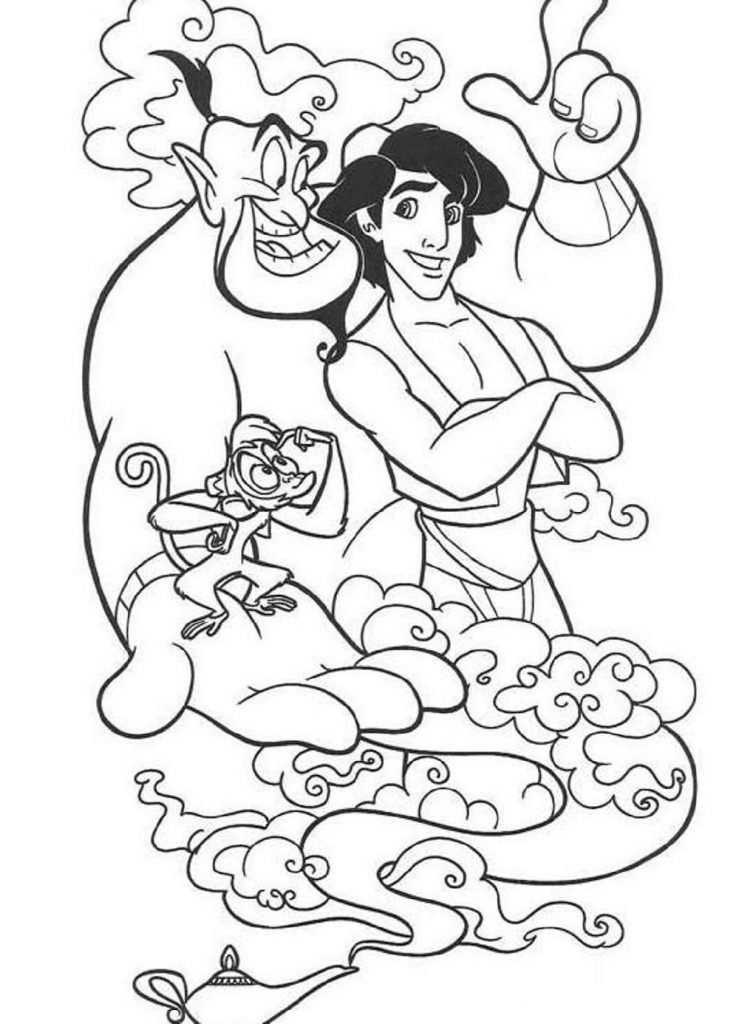 Aladdin Coloring Pages Disney