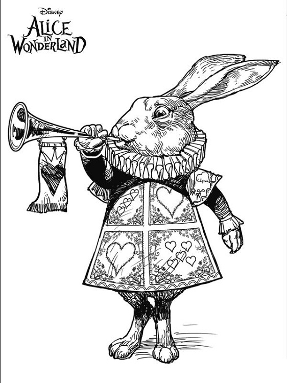 Alice In Wonderland Coloring Pages White Rabbit