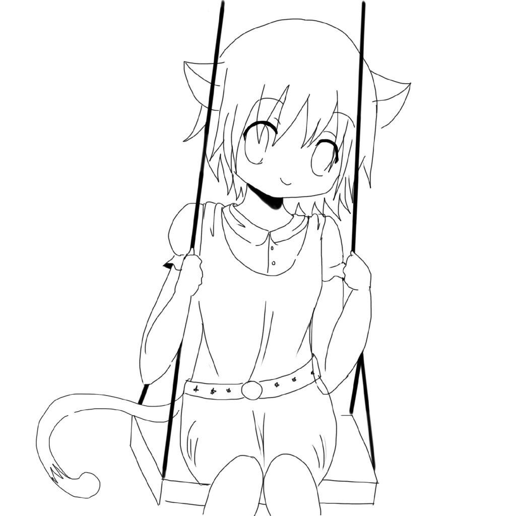 Anime Girl Coloring Pages Neko