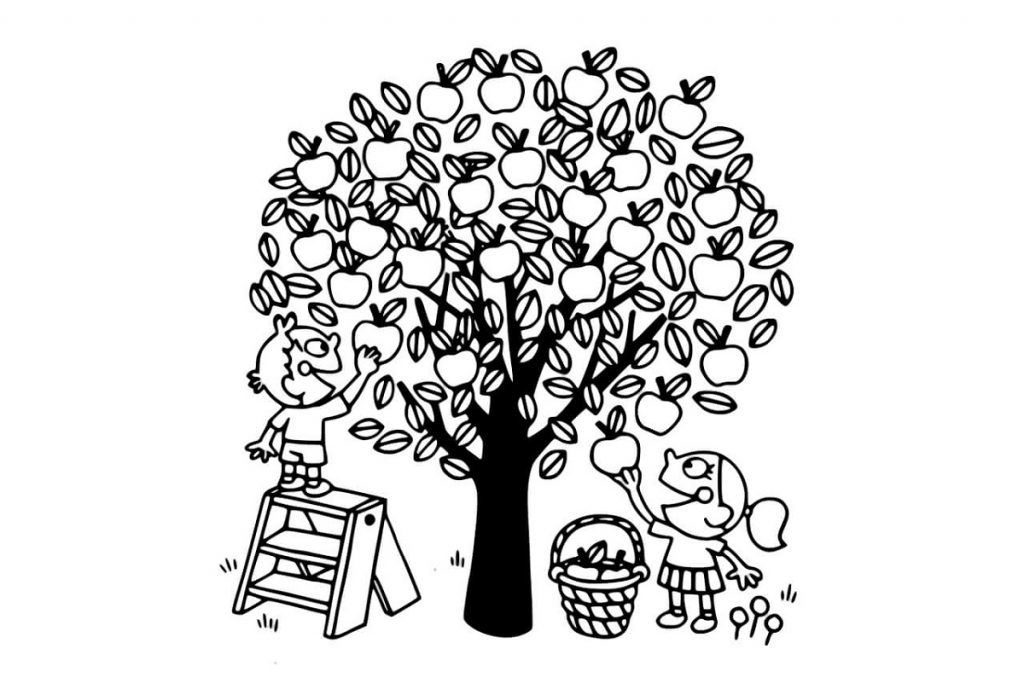 Apple Coloring Pages Apple Tree