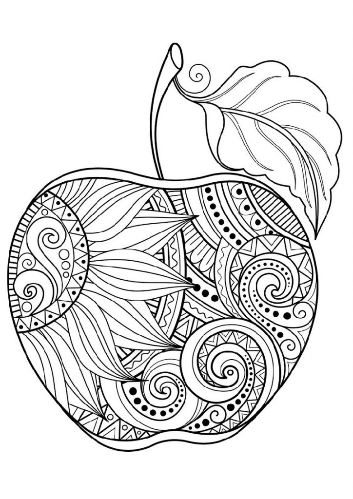 Apple Coloring Pages Zentangle