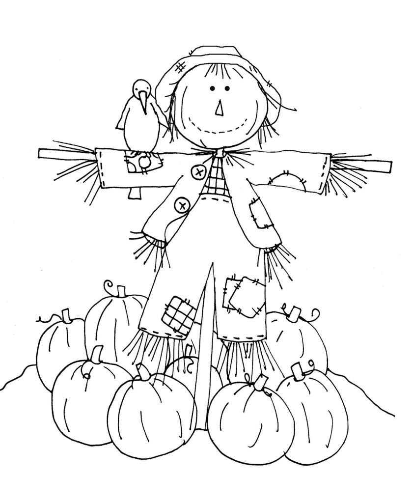 Autumn Coloring Pages Scarecrow