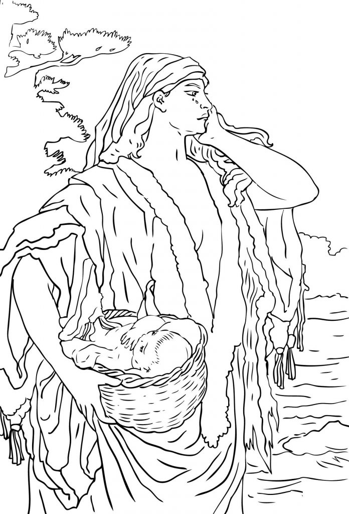 Baby Moses Coloring Page Miriam
