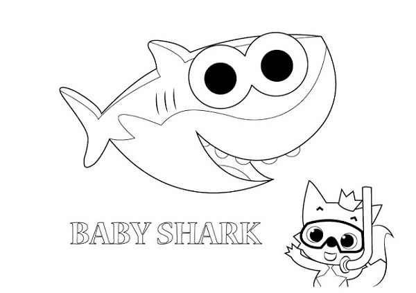 Baby Shark Coloring Pages Cute
