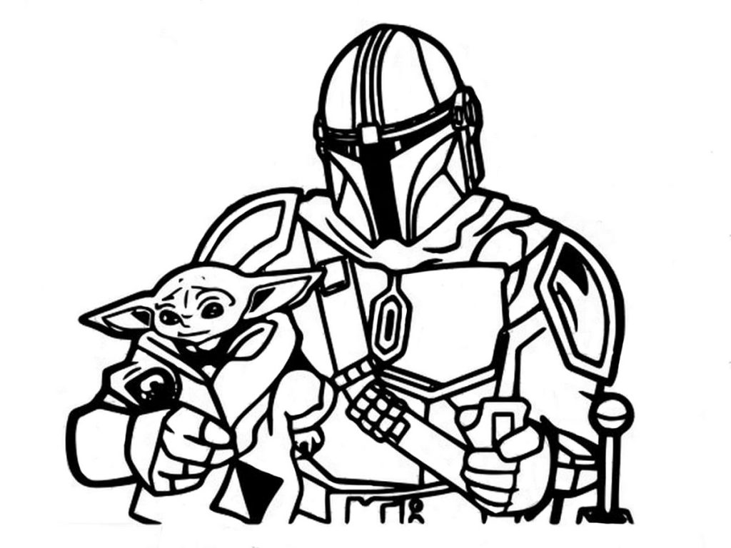 Baby Yoda and Clone Trooper Coloring Pages