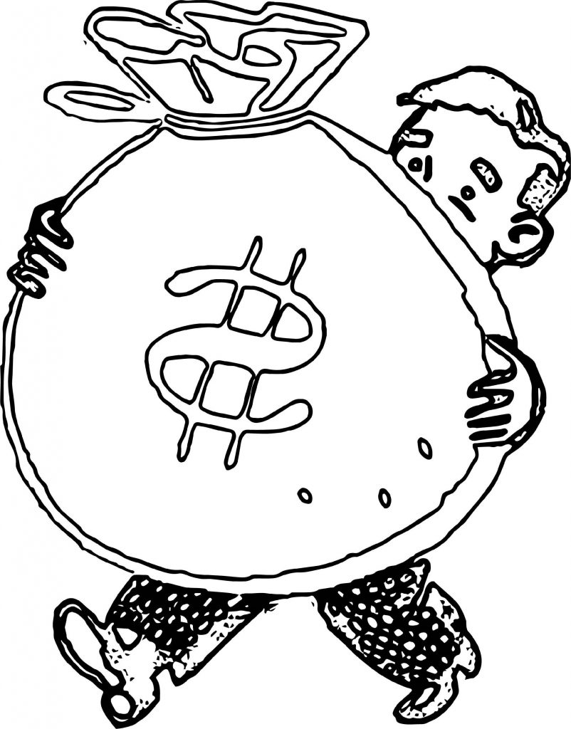 Bag Of Money Coloring Pages