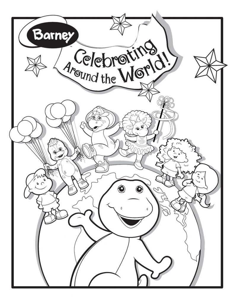 Barney Coloring Pages Family