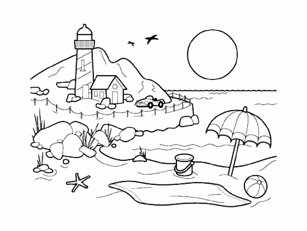 Beach Coloring Pages For Kids
