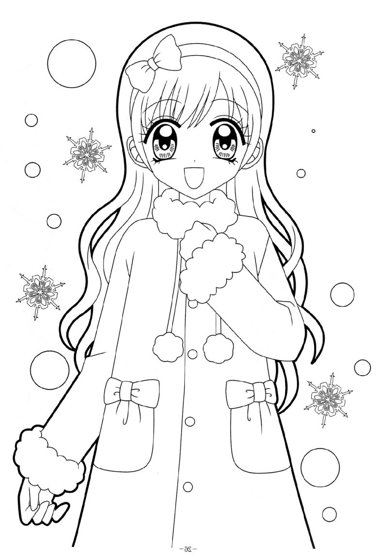 Beautiful Anime Girl Coloring Pages