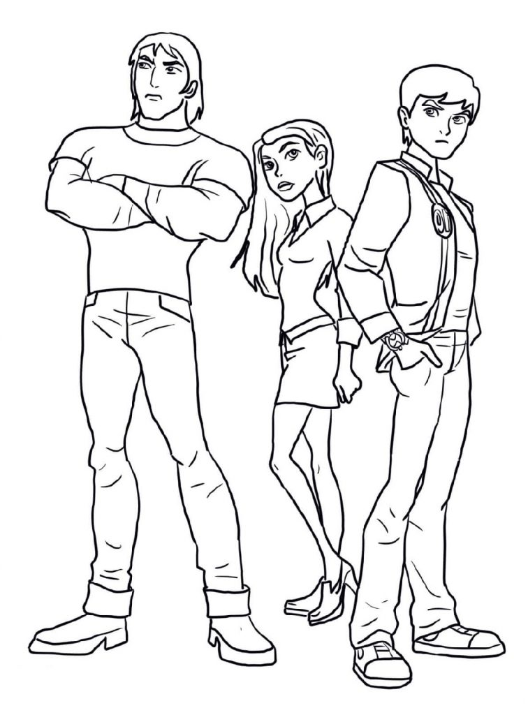 Ben Ten Coloring Pages Characters