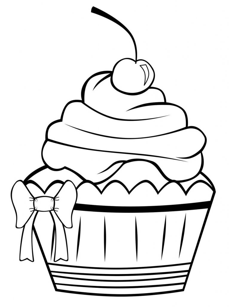 Birthday Cake Coloring Page Cupcake