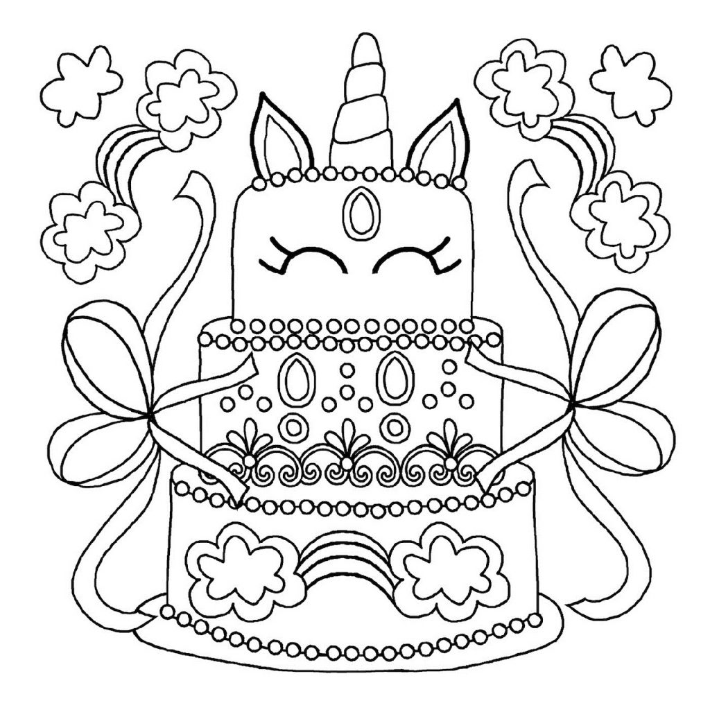 Birthday Cake Coloring Page Cute