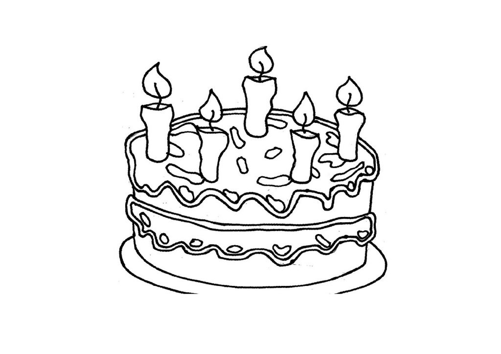 Birthday Cake Coloring Page With Candles