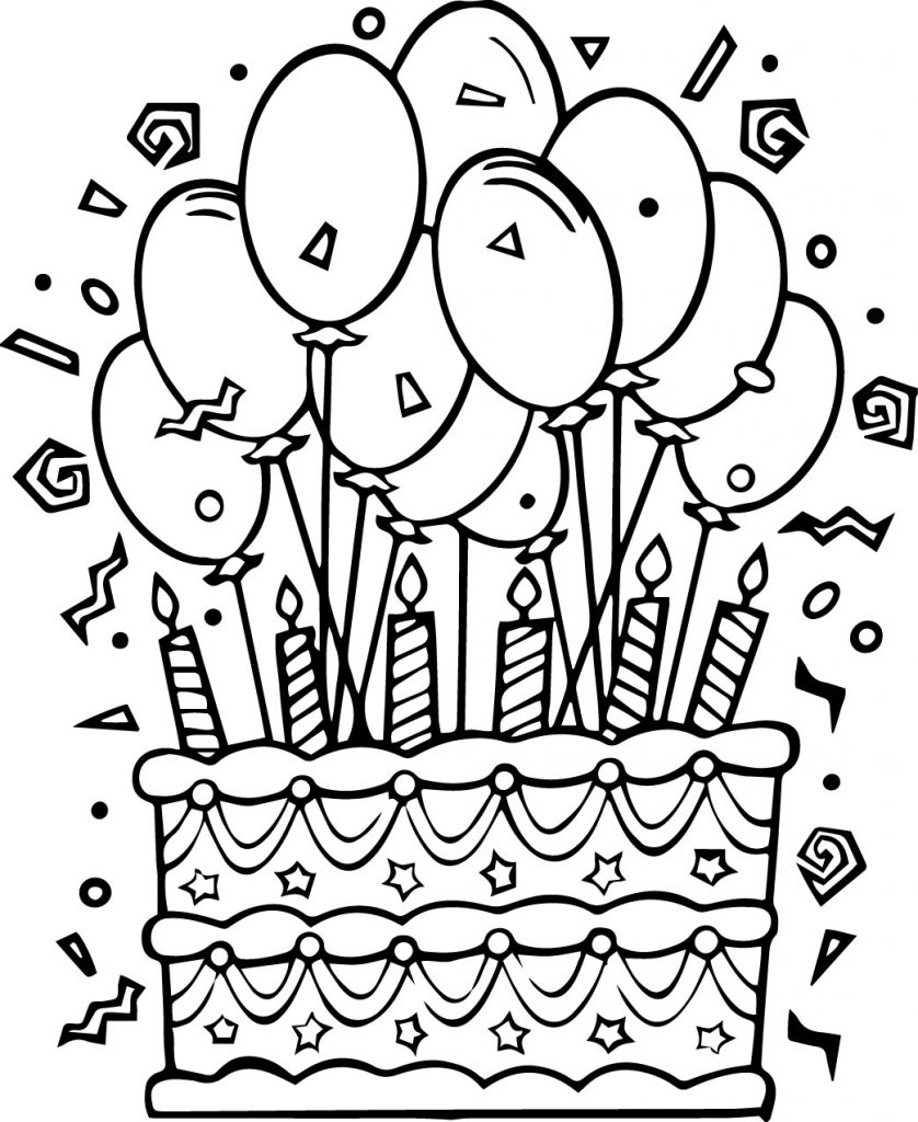 Birthday Coloring Pages Cake