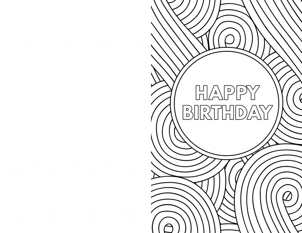 Birthday Coloring Pages Card