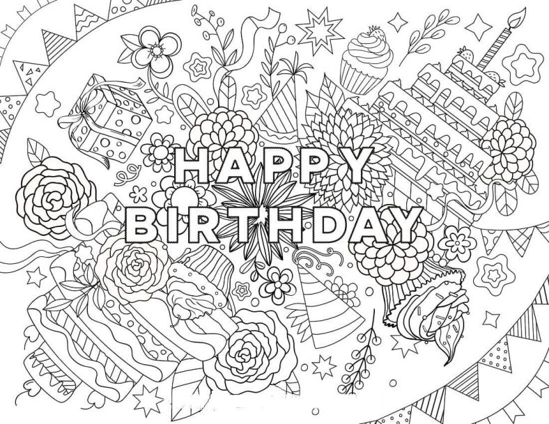 Birthday Coloring Pages Hard