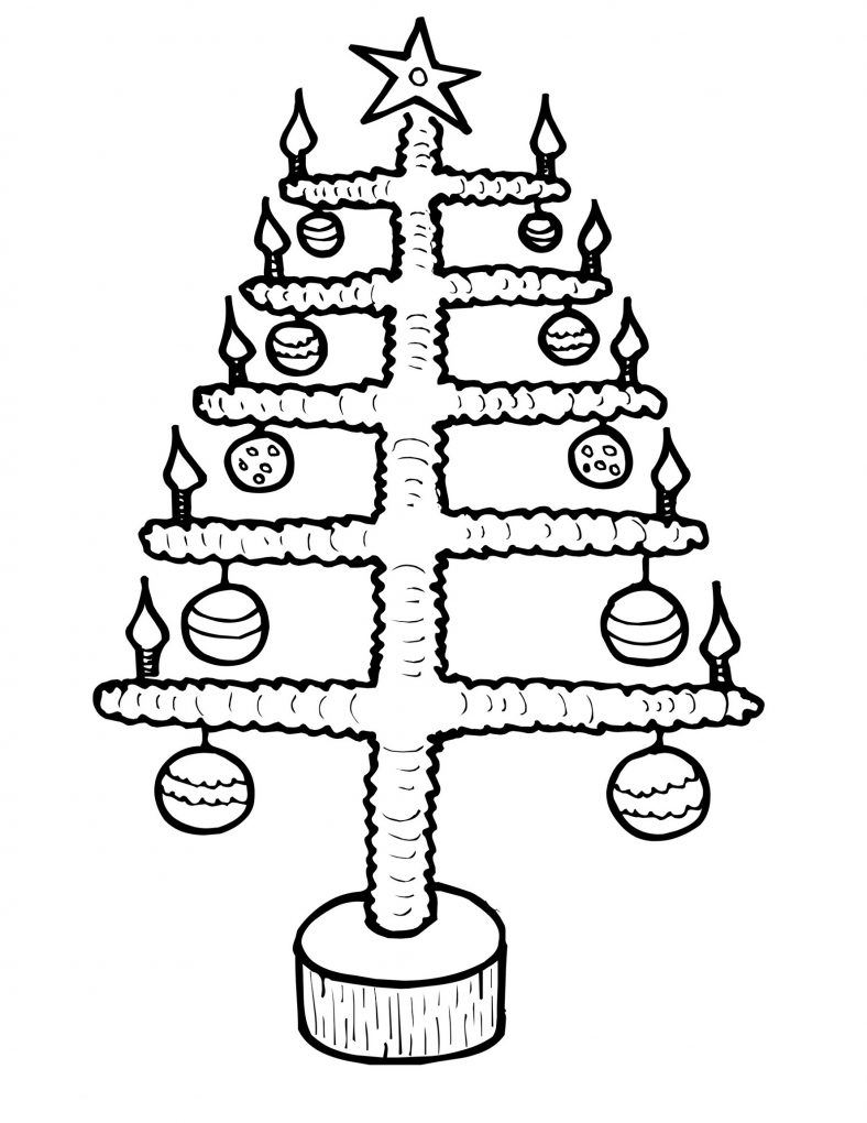 Branch Christmas Tree Pictures To Color