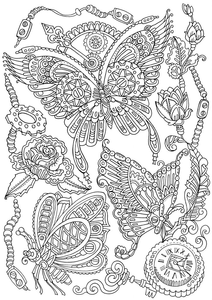 Butterfly Coloring Sheet Detailed