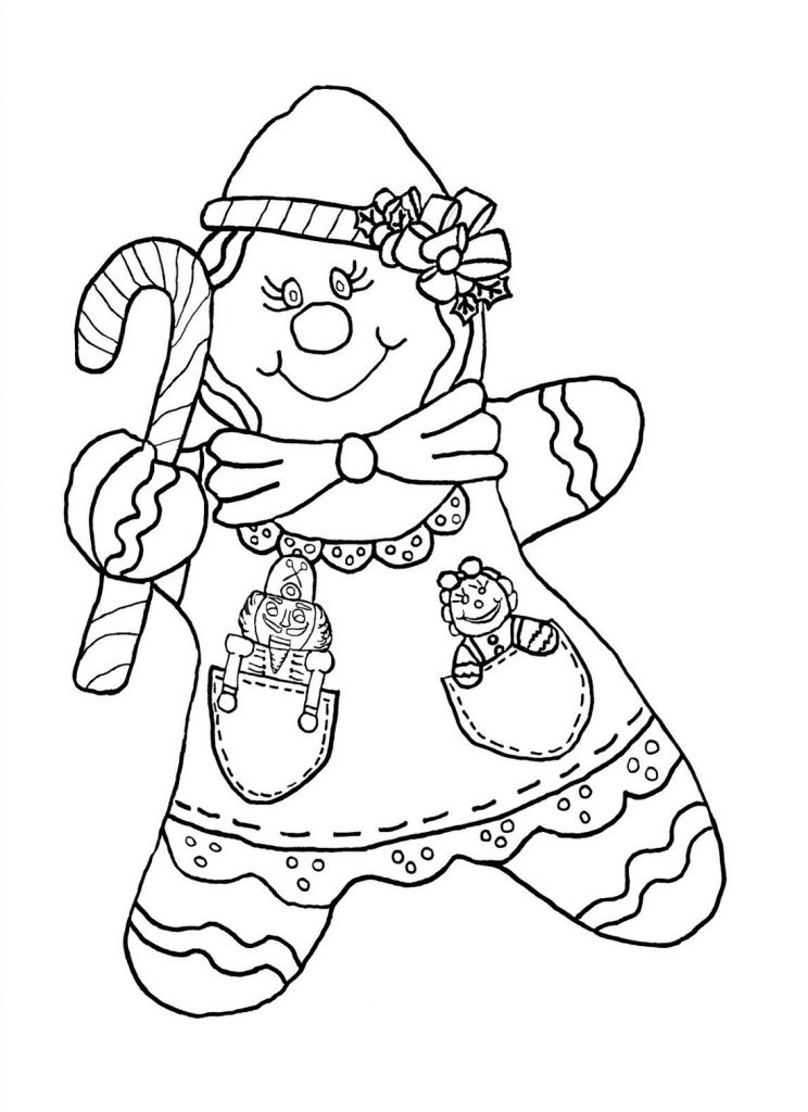 Candy Cane Coloring Pages Gingerbread