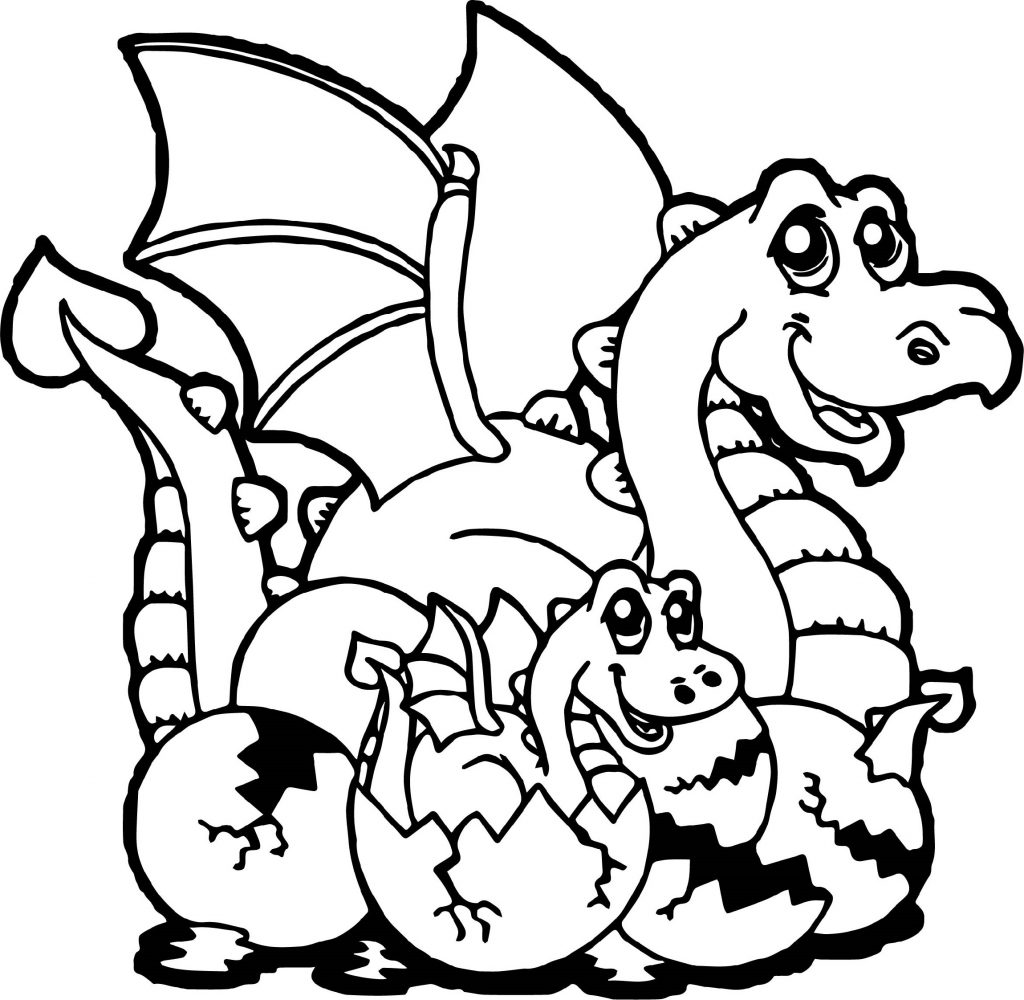 Cartoon Baby Dragon Coloring Pages