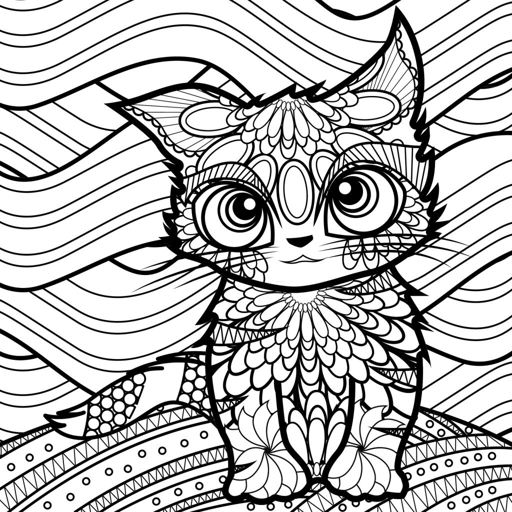 Cat Coloring Pages For Adults Abstract