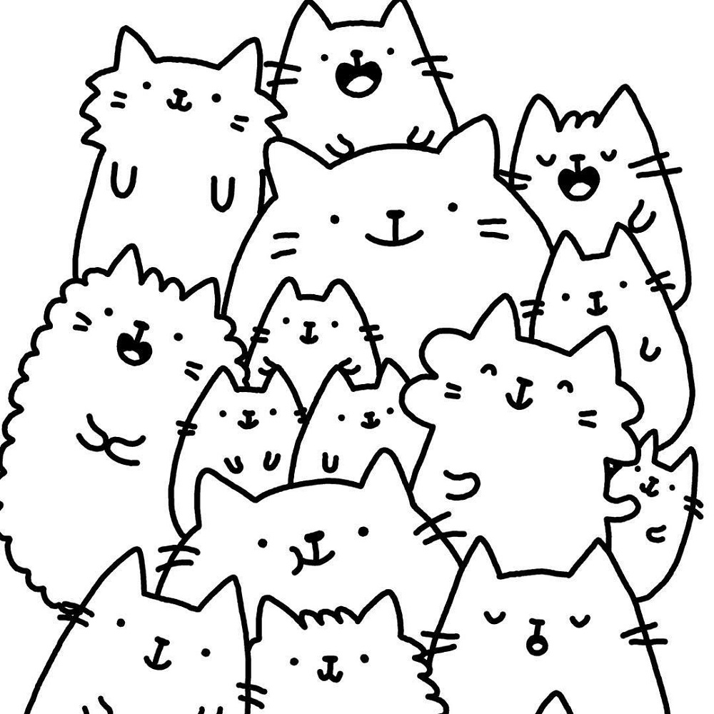 Cat Coloring Pages For Adults Doodle