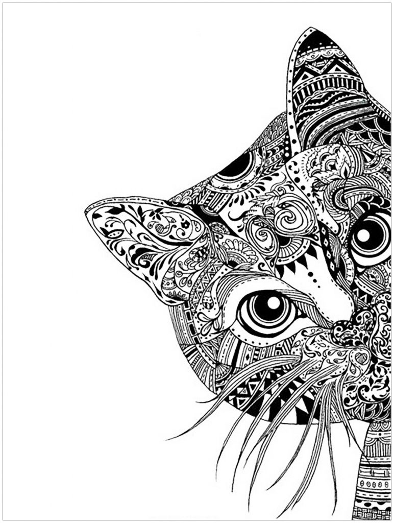 Cat Coloring Pages For Adults Unique