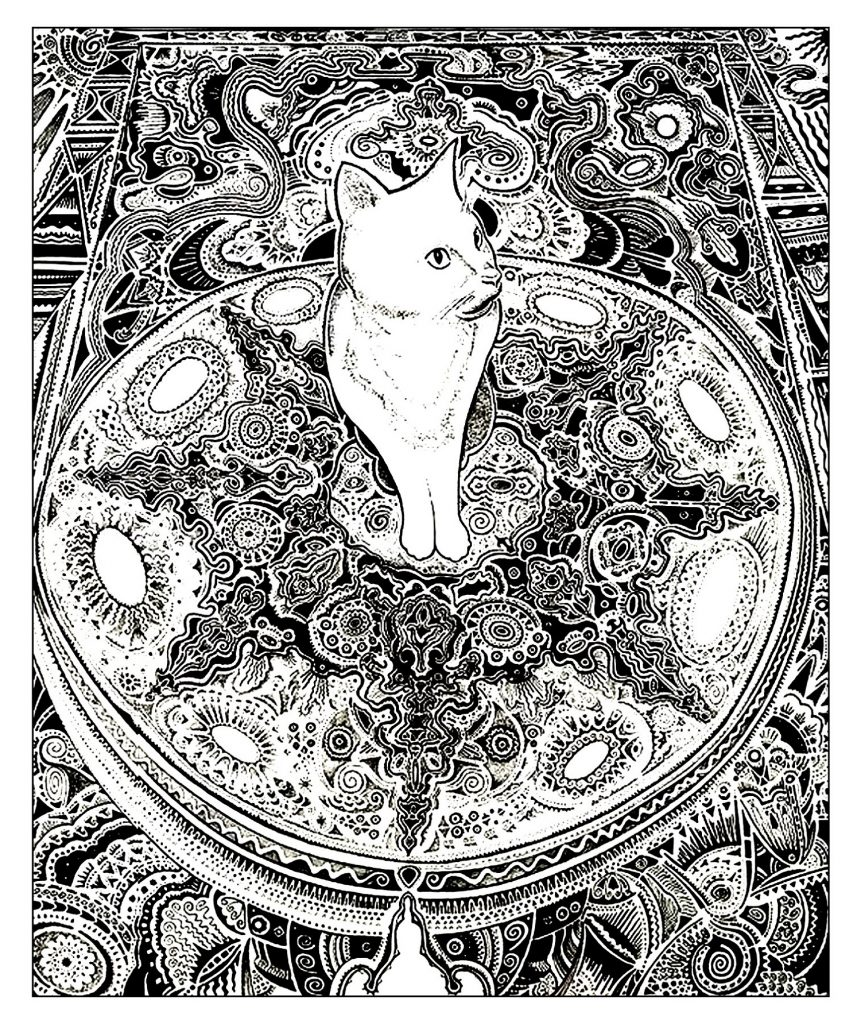Cat Coloring Pages For Adults on Carpet