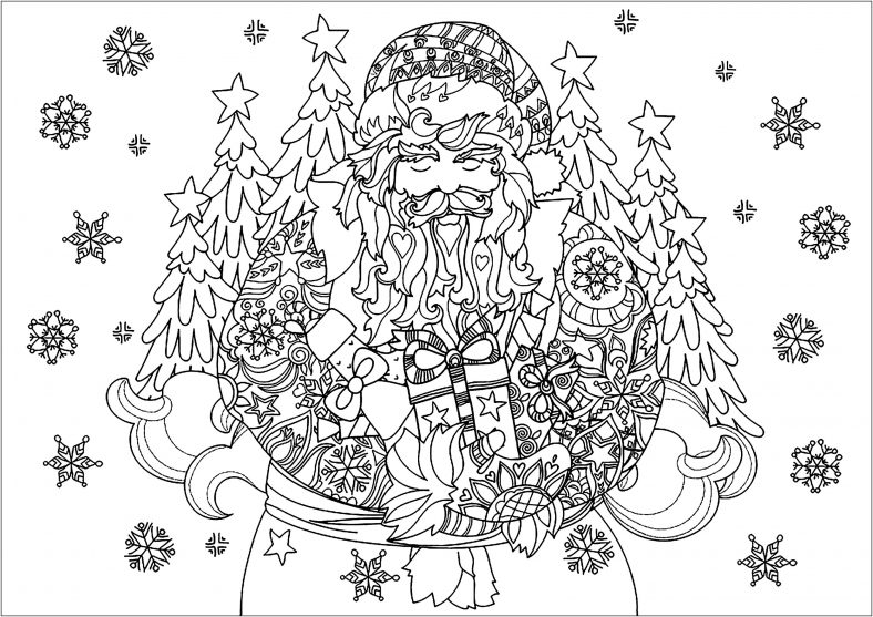 Christmas Coloring Pages For Adults Santa Claus