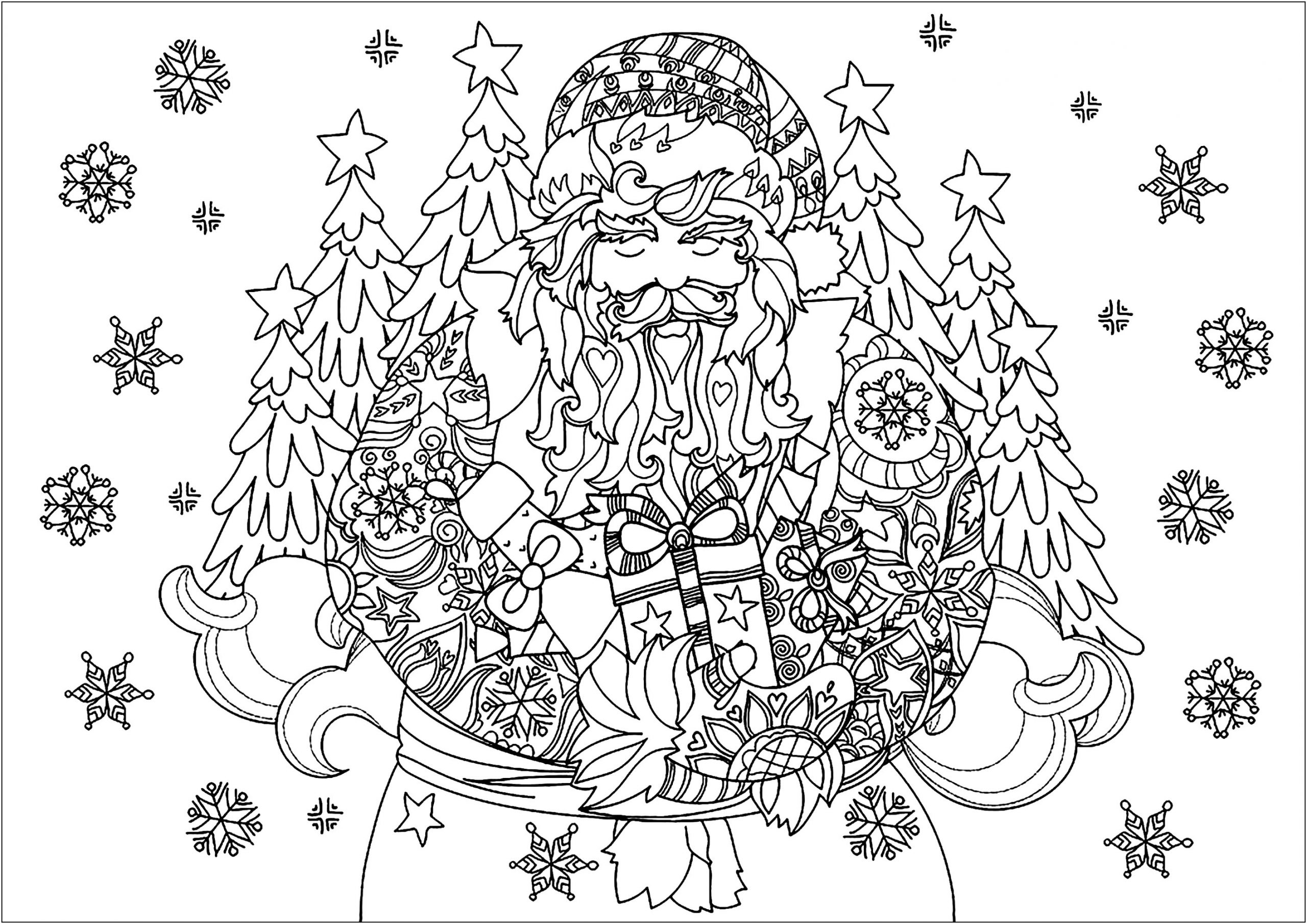 Christmas Coloring Pages For Adults Detailed 101 Coloring