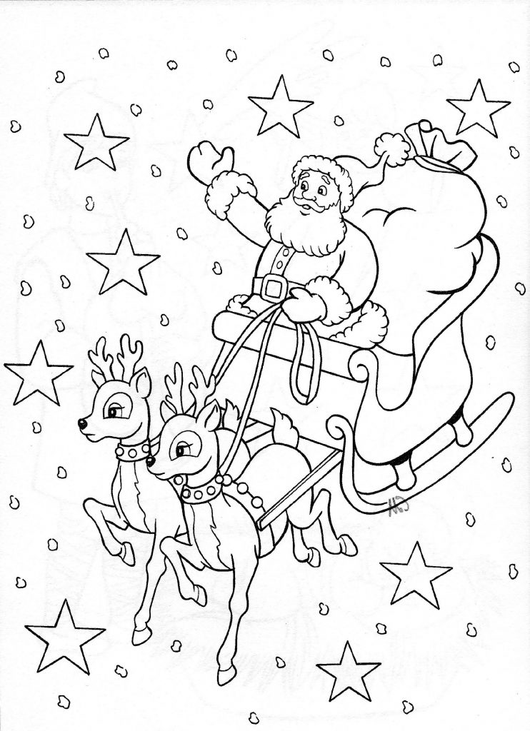 Christmas Coloring Pages Santa's Sleigh