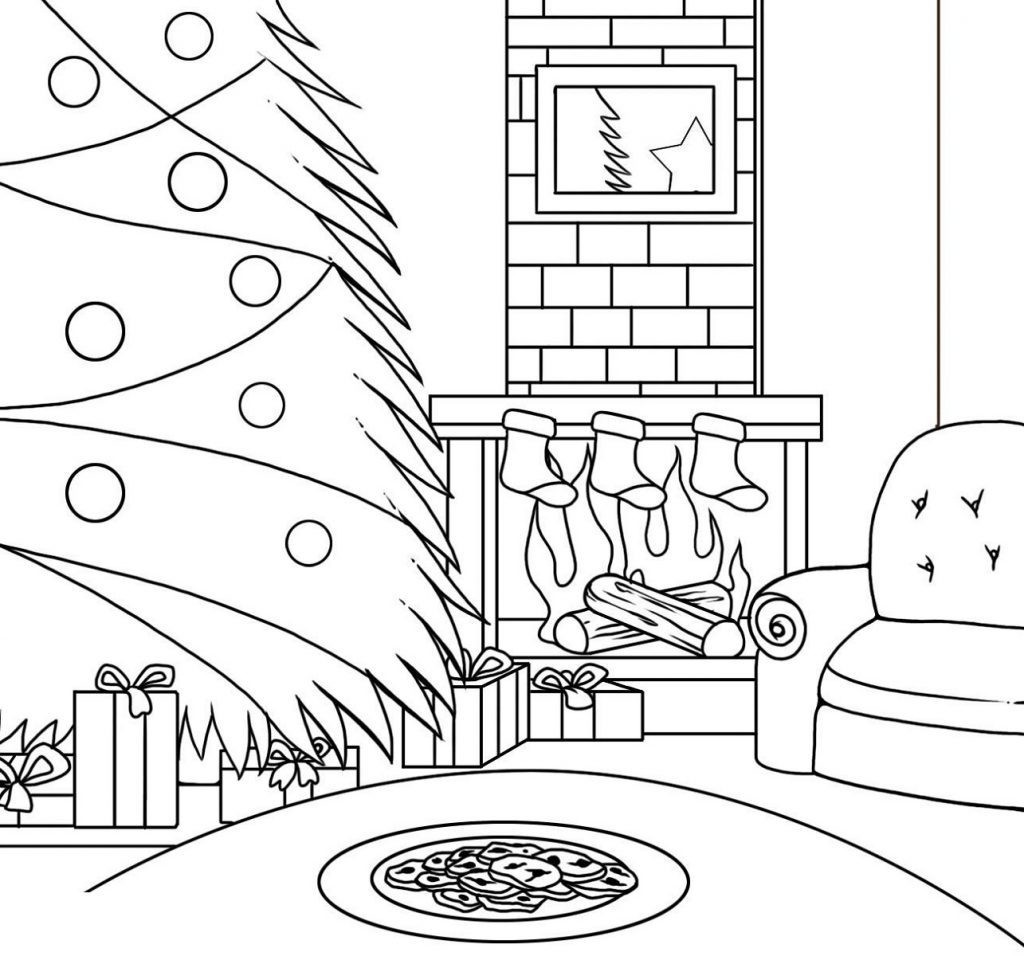 Christmas Coloring Pictures Scene