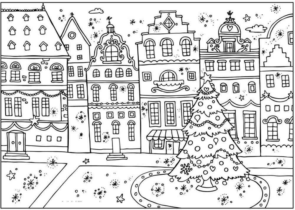 Christmas Coloring Sheets Scene