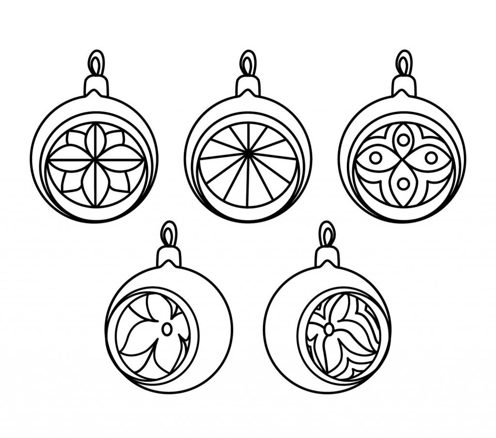 Christmas Ornament Coloring Page Vintage