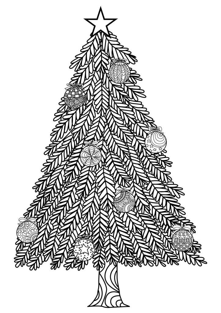Christmas Tree Coloring Page Simple