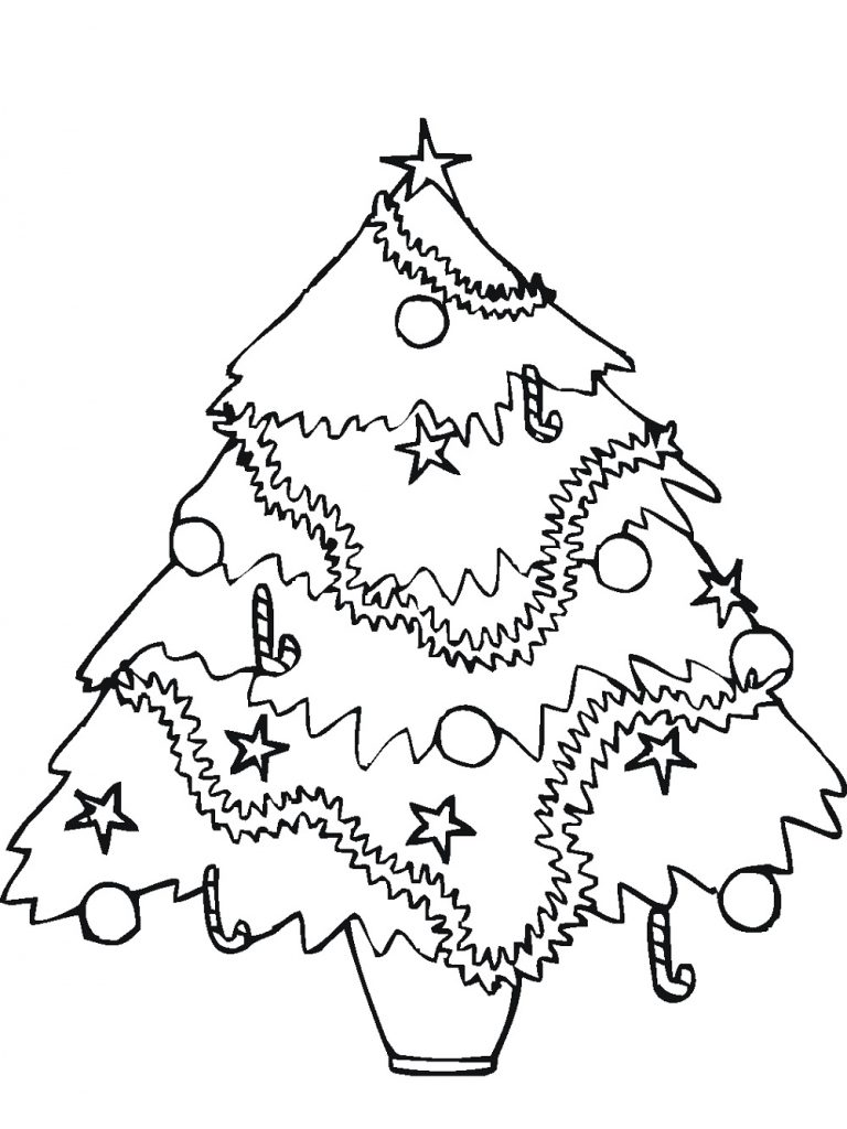Christmas Tree Coloring Sheet Decorated