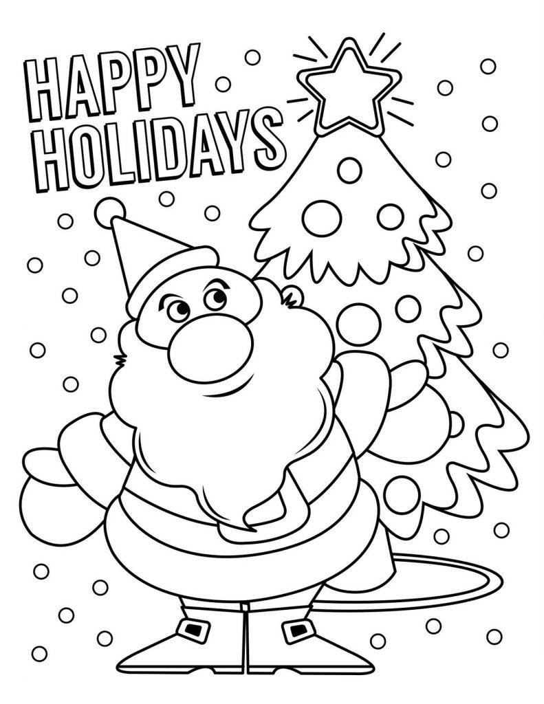 Christmas Tree Coloring Sheet Santa