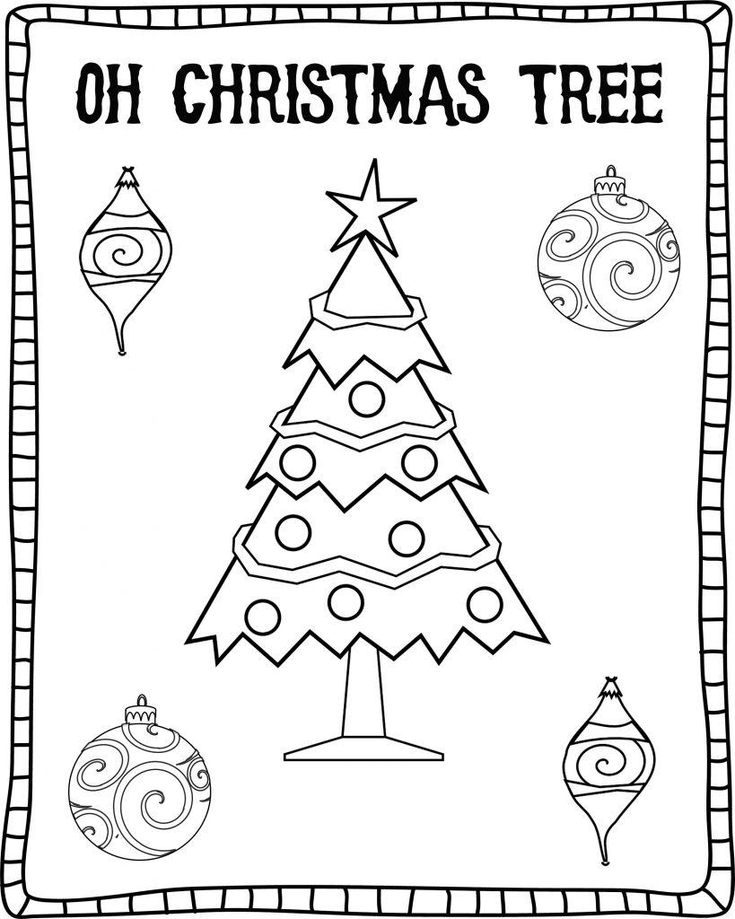 Christmas Tree Pictures To Color Sheet