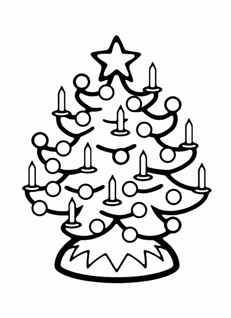 Christmas Tree Pictures To Color for Kids