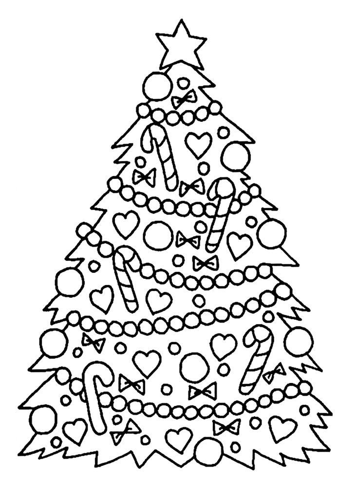 Christmas Tree With Christmas Lights Coloring Page