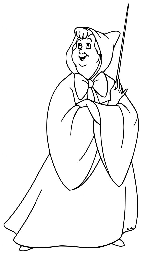 Cinderella And Fairy Godmother Coloring Pages Fairy Godmother ... | 1024x588