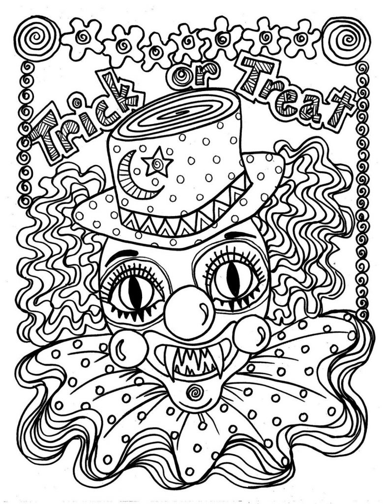 Clown Coloring Pages Halloween