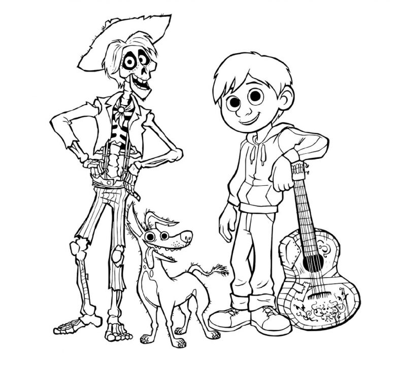 Coco Coloring Pages Disney Pixar