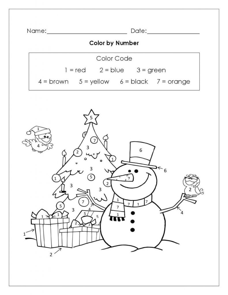 Color By Number Christmas Pictures Snowman