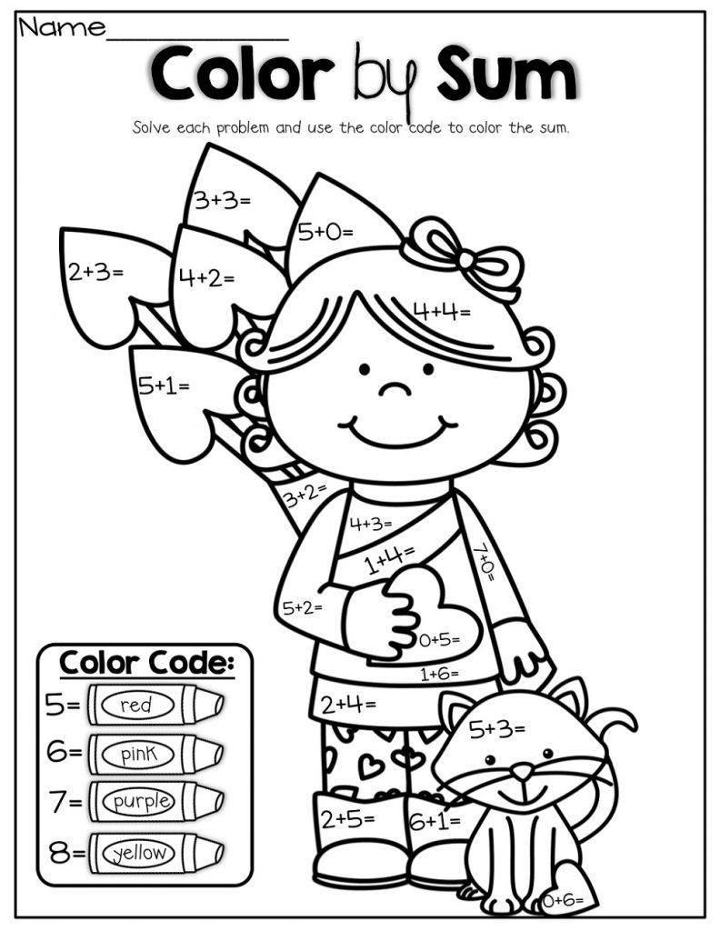 Color By Number Kindergarten Addition